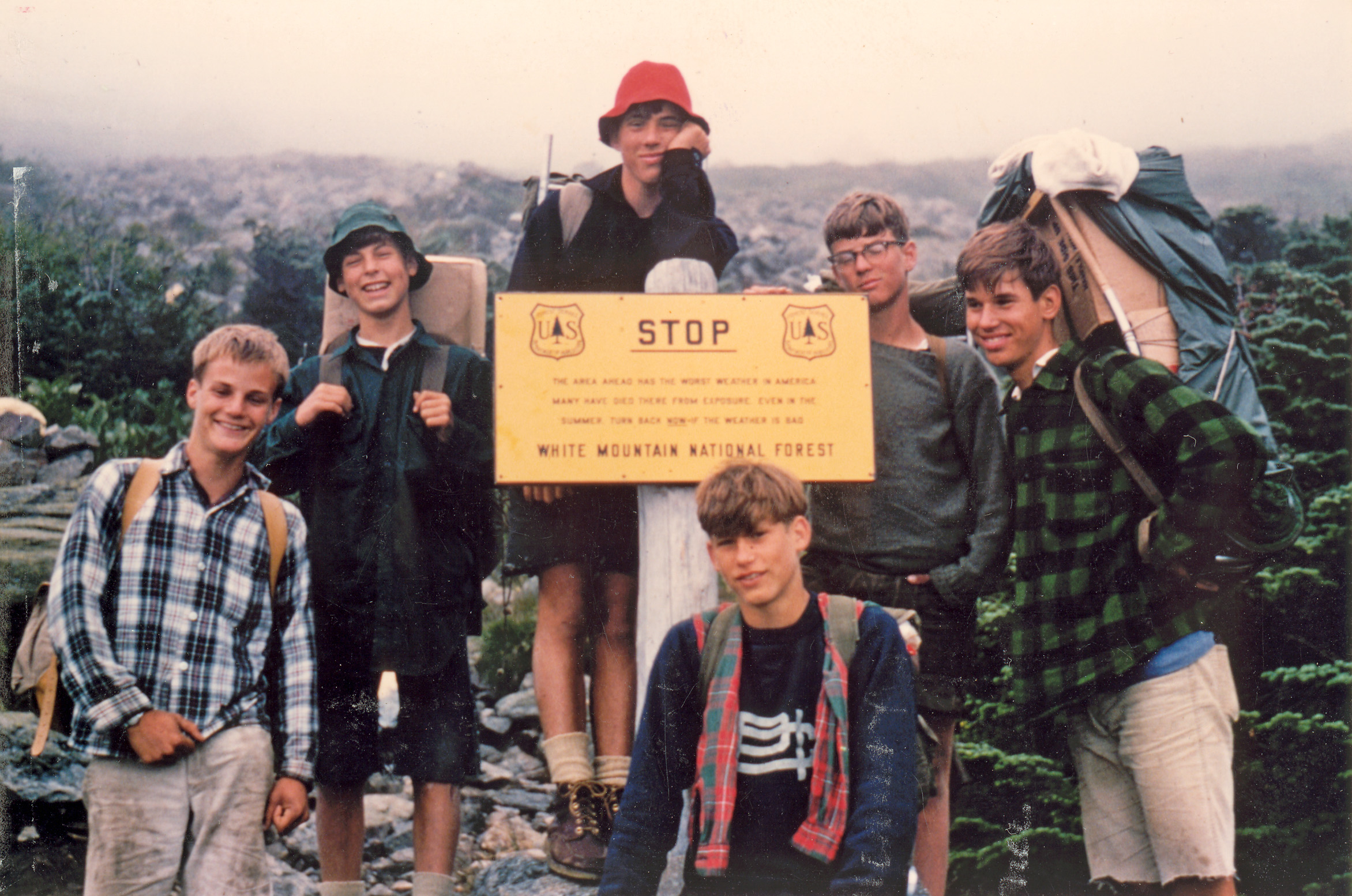 From left to right: Howard Ferguson, Coly Hoyt, John Timkin, John Goodhue, Jeff Kilbreth, and Dave Carmen on their way up Mt. Washington.
